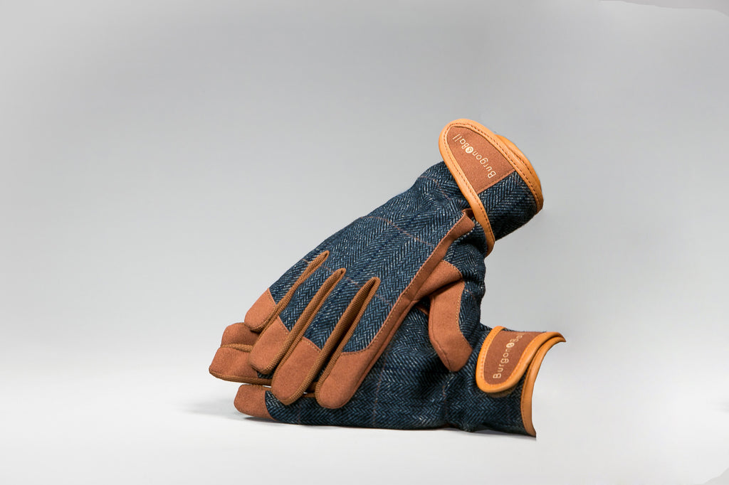 Burgon & Ball Blue Tweed & Leather Garden Gloves