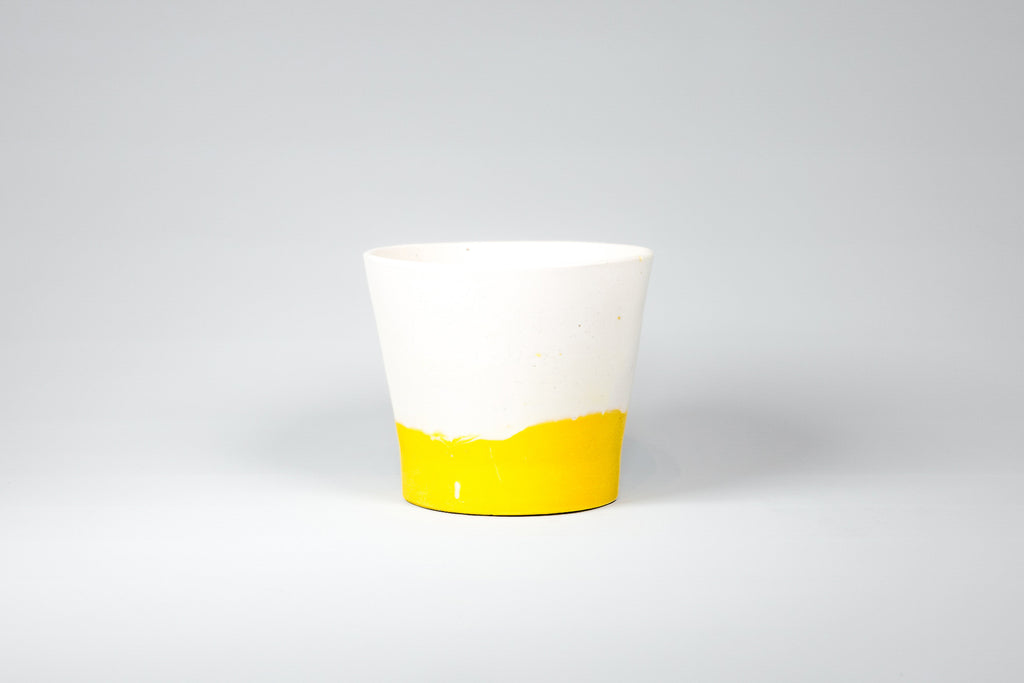 Capra Designs Dipped Mustard Yellow and White mini eco resin pot