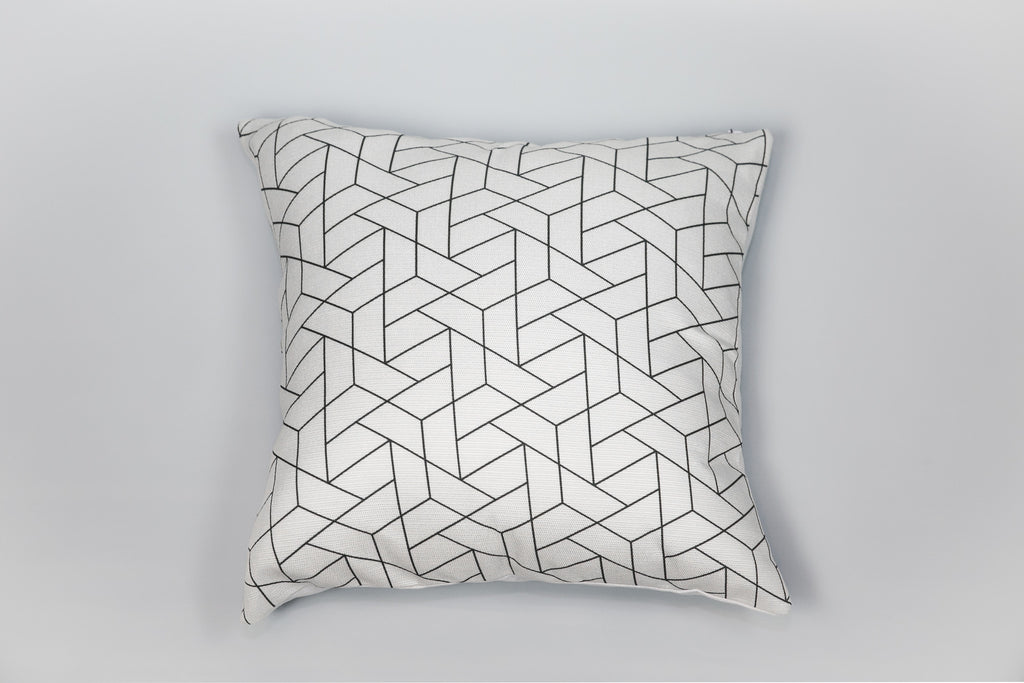 Escape to Paradise Black & Creme geometric cushion