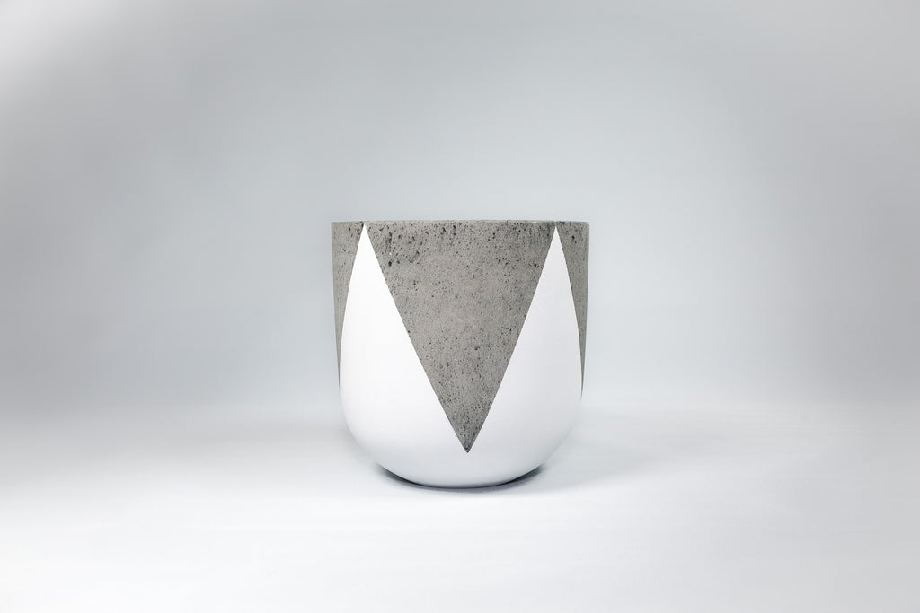 Crown - White & Concrete Tall Pot