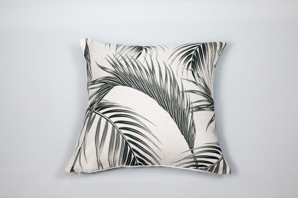 Escape to Paradise Black & White Palm Frond Cushion - OUT OF STOCK