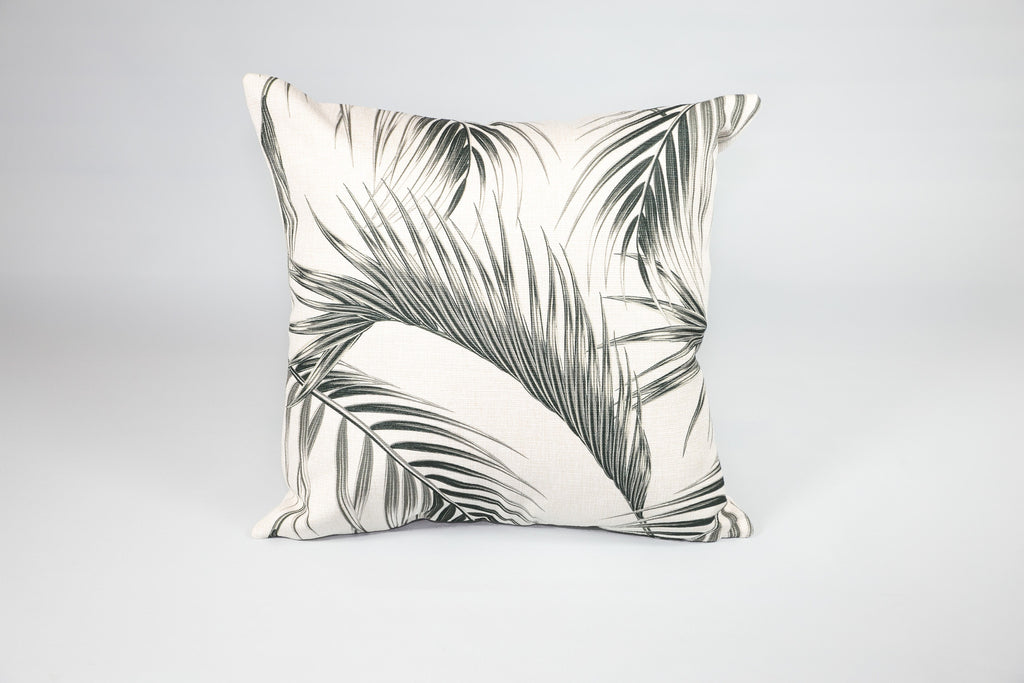 Escape to Paradise Black & White Palm Frond Cushion