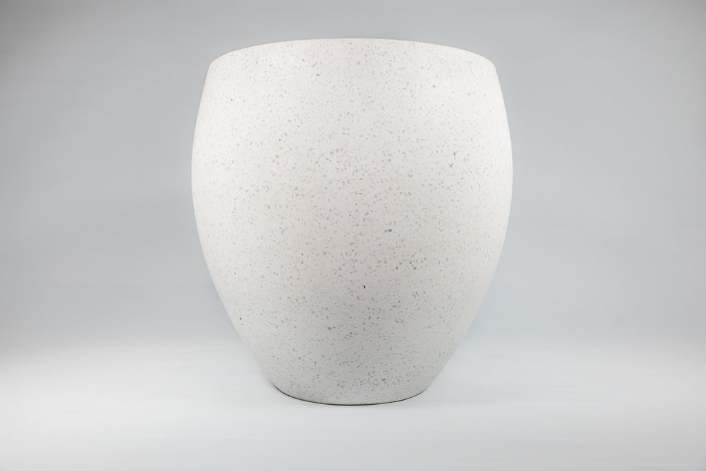 On the Side Pots Lightweight Terrazzo White Pot