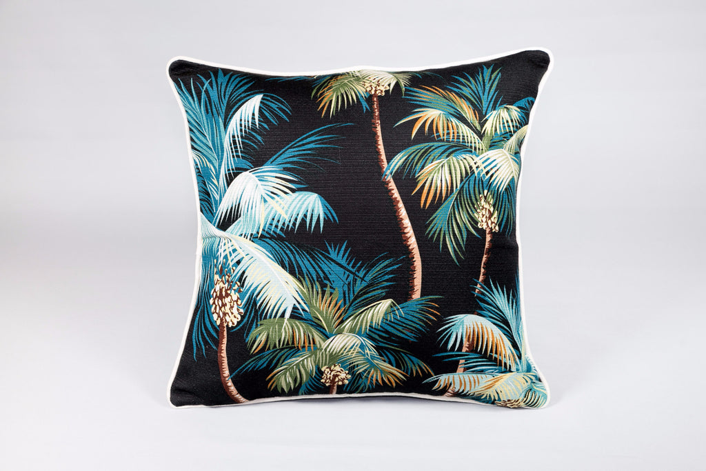 Black Palm Trees Cushion - Square