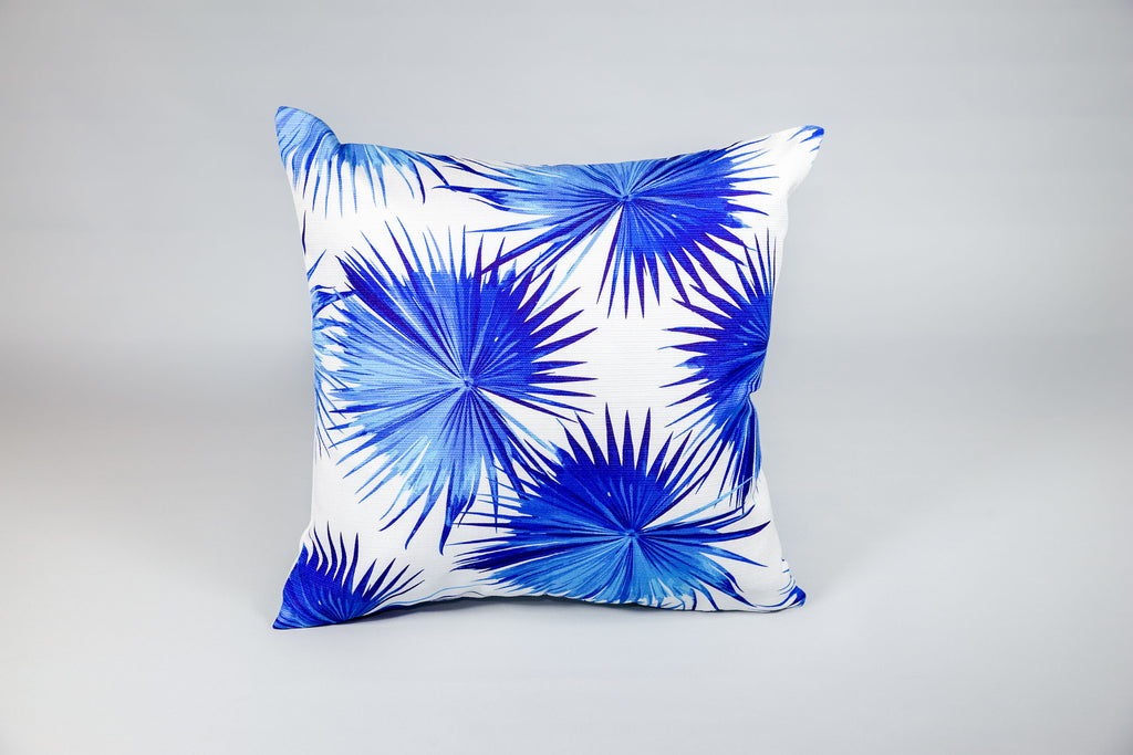 Escape to Paradise Botanical Fan Palm Blue Cushion