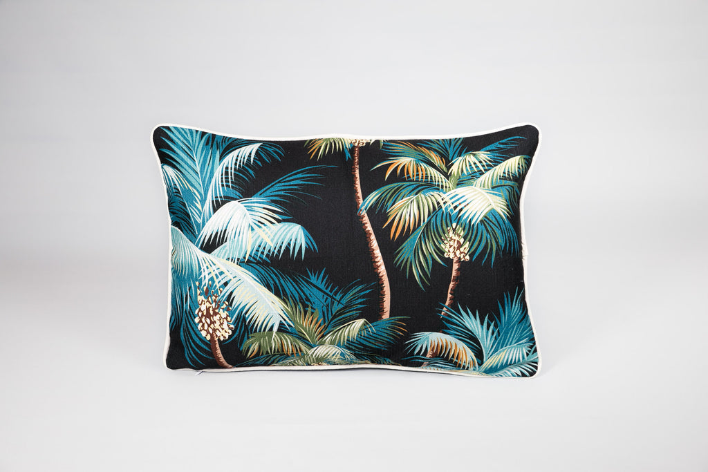 Escape to Paradise Black Palm Trees Cushion