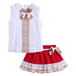 2PC White Top and Red Skirt  2T-12