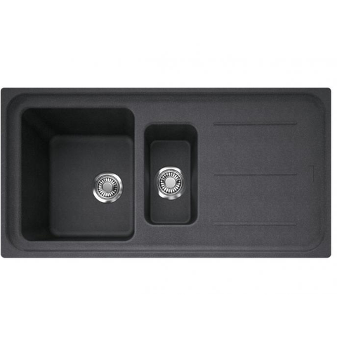 Franke Black/White Impact 970 Granite 1 & 1/4 Double Bowl Sink with Drainer 970x500 Kitchen Sink - Friendly Kitchen