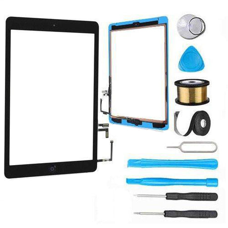 iPad Air 1st Gen Glass Screen and Digitizer Replacement Premium Repair Kit + Easy Repair Instructions - Black