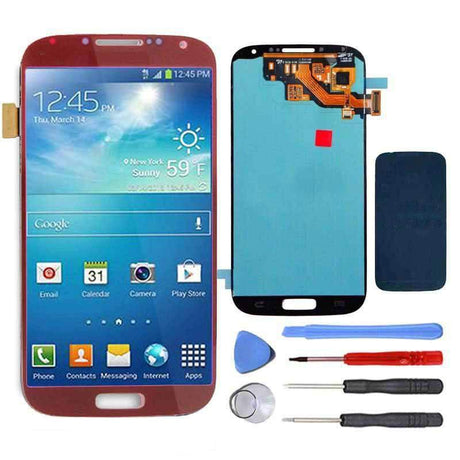 Samsung Galaxy S4 Replacement LCD Screen and Digitizer Assembly Premium Repair Kit - Red