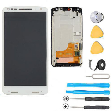 Motorola Droid Turbo 2 Screen Replacement LCD Digitizer Frame Premium Repair Kit XT1580 XT1581 XT1585 - White
