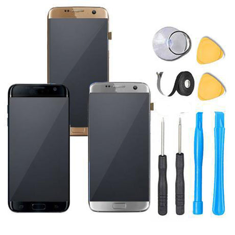 Samsung Galaxy S7 Edge Screen Replacement LCD Premium Repair Kit G935 - Black Gold Silver