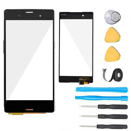 Sony Xperia Z3 Glass Screen Replacement + Touch Digitizer Premium Repair Kit D6603 D6616 D6643 D6653- Black