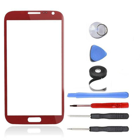 Samsung Galaxy Note 2 Glass Screen Replacement Premium Repair Kit - Red