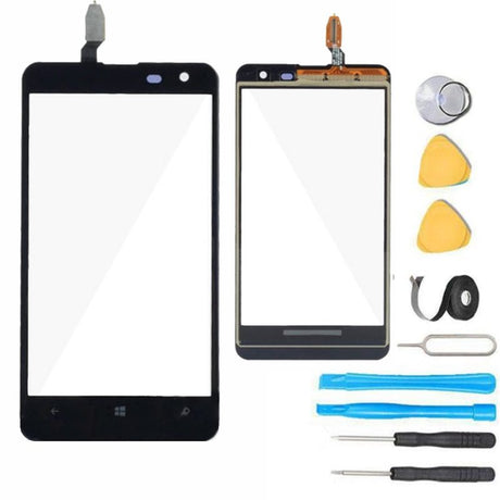 Nokia Lumia 625 Glass Screen Replacement + Touch Digitizer Replacement Premium Repair Kit - Black