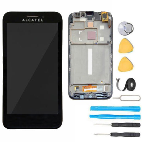 Alcatel One Touch Fierce Screen Replacement LCD + Digitizer + Frame Display Premium Repair Kit  - Black