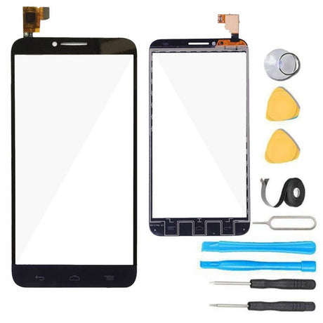 Alcatel One Touch Idol 2 Glass Screen Replacement + Touchscreen Digitizer Premium Repair Kit - Black