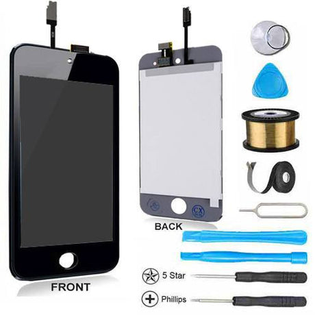 iPod Touch 4 LCD Screen Replacement and Digitizer Display Premium Repair Kit - Black - PhoneRemedies