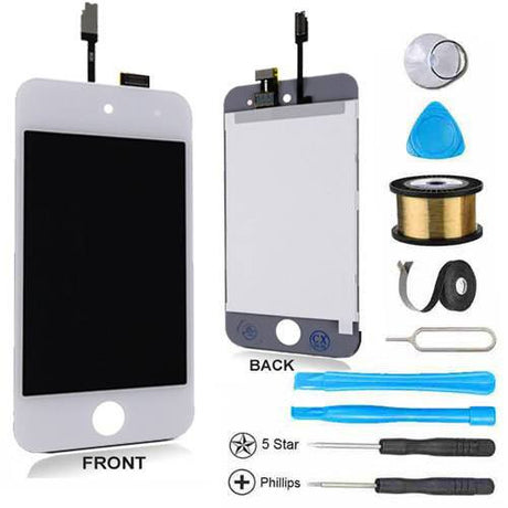 iPod Touch 4 LCD Screen Replacement and Digitizer Display Premium Repair Kit - White - PhoneRemedies