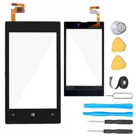 Nokia Lumia 520 Glass Screen Replacement + Touch Digitizer Premium Repair Kit 520 520T- Black
