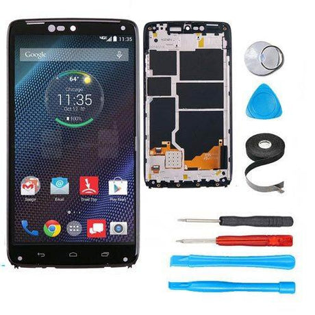 Motorola Droid Turbo Screen Replacement + LCD + Digitizer + Frame Premium Repair Kit XT1254 | XT1225 - Black