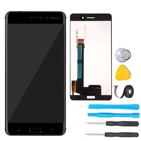 "Nokia 6  5.5"" (2017) Screen Replacement LCD + Digitizer Premium Repair Kit- Black"