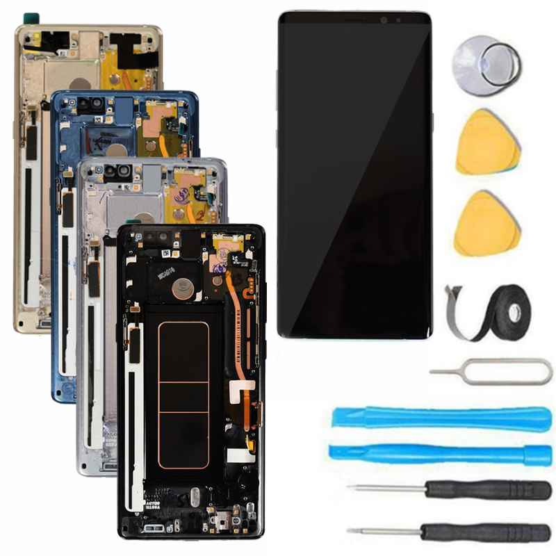 Samsung Galaxy Note 8 Screen Replacement LCD Frame Repair Kit N950 - Black  /Gold / Gray/Blue