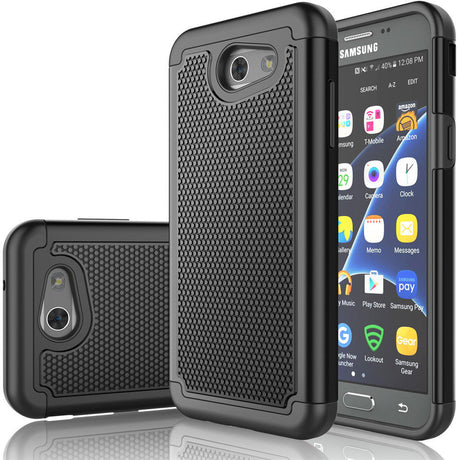 Rugged Armor Protective Hard Case Cover - Samsung Galaxy J3