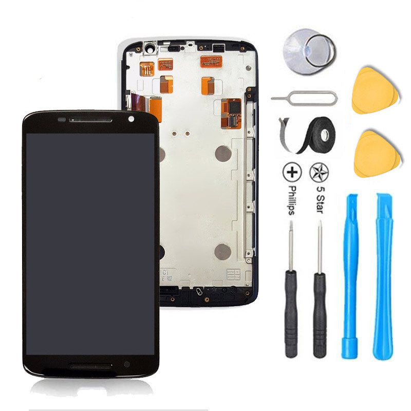 Motorola Droid Maxx 2 Screen Replacement LCD Digitizer + FRAME Premium Repair Kit XT1565 - Black or White