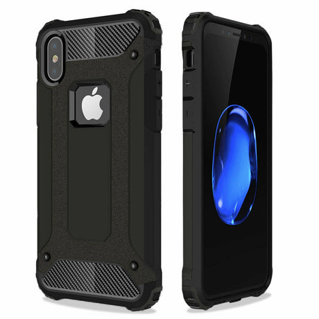 Black Rugged Armor Protective Hard Case Cover - iPhone XR