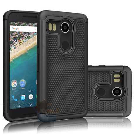 Black Rugged Armor Protective Hard Case - Nexus 6P