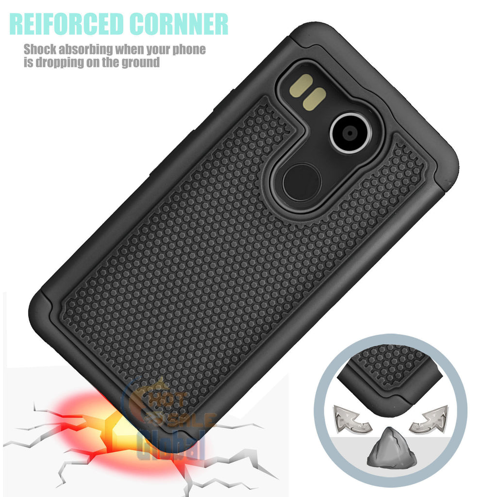 Black Rugged Armor Protective Hard Case Cover - Nexus 5x