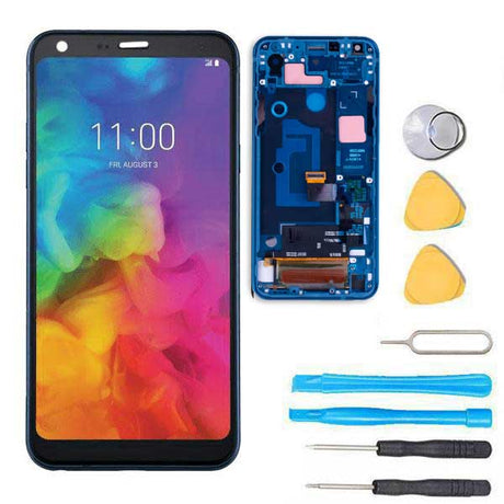 LG Q7 Plus Screen Replacement Glass LCD + Digitizer + FRAME + Premium Repair Kit  - Blue