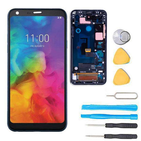 LG Q7 Plus Screen Replacement Glass LCD + Digitizer + FRAME + Premium Repair Kit  - Black
