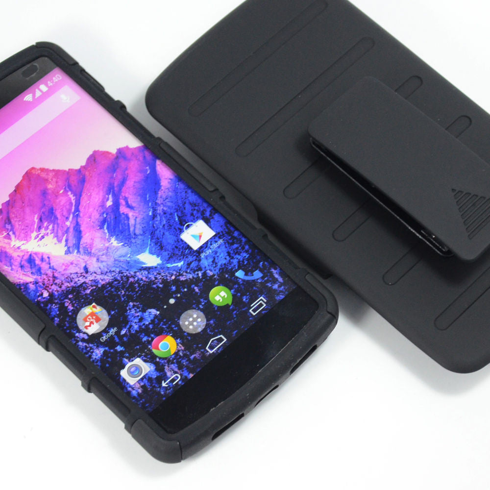Black Rugged Armor Protective Hard Case Cover+Stand - Nexus 5
