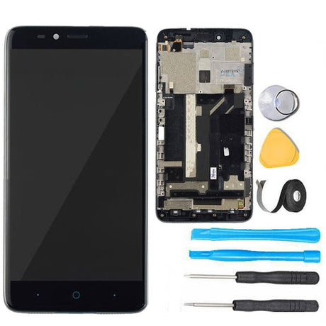 ZTE MAX Duo Screen Replacement LCD + Digitizer Assembly + FRAME  Premium Repair Kit  Z963 Z962- Black