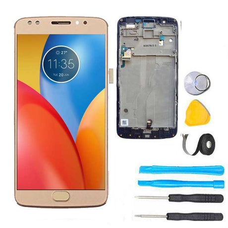 Moto E4 Plus Screen Replacement LCD with FRAME Repair Kit E 4th XT1774 XT1775 XT1776 - Gold