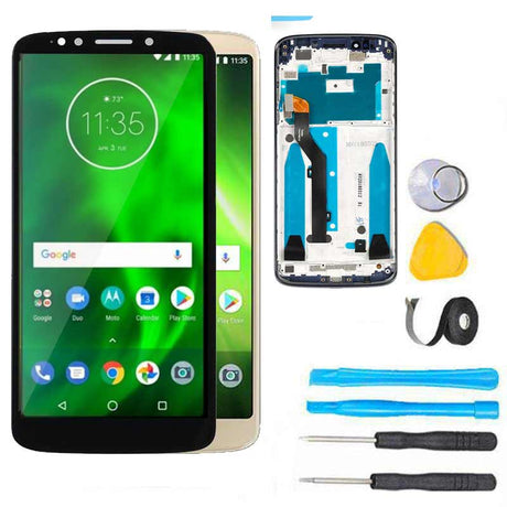Motorola Moto G6 Play Screen Replacement LCD with FRAME Repair Kit - Black or Gold