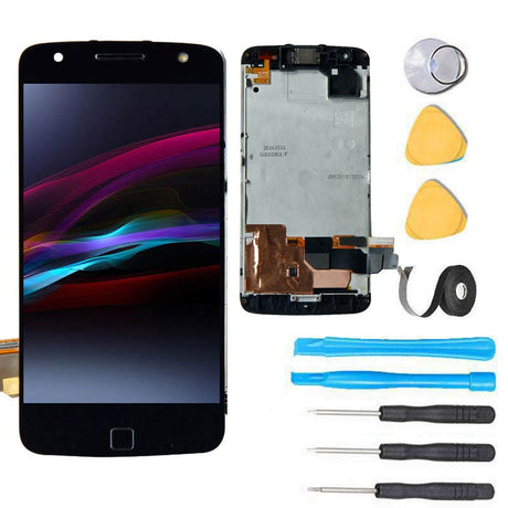 Motorola Moto Z FORCE Glass Screen Replacement + LCD + Digitizer Premium Repair Kit XT1650-02 - Black