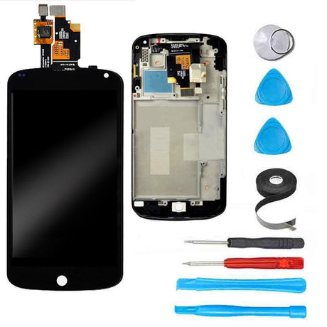Google Nexus 4 Screen Replacement + LCD + Digitizer + FRAME + Premium Repair Kit  - Black