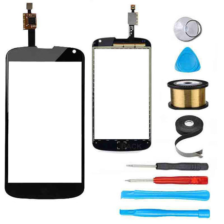 LG Google Nexus 4 Glass Screen and Touchscreen Digitizer Replacement Premium Repair Kit - Black