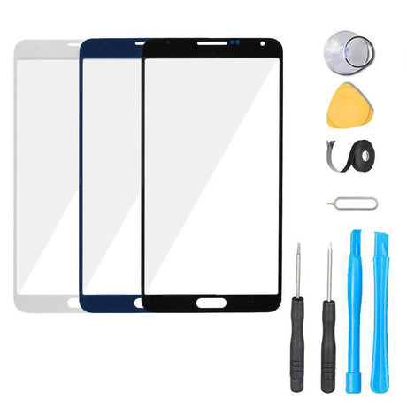 Samsung Galaxy Note 3 Glass Screen Replacement Premium Repair Kit - Black White Blue