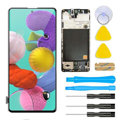 Samsung Galaxy A51 Screen Replacement Glass LCD + Digitizer  + FRAME Assembly Premium Repair Kit SM-A515