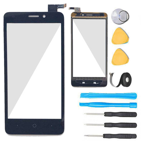 ZTE Avid Plus Glass Screen Replacement + Touch Digitizer Premium Repair Kit  Z828 Z828L  - Black