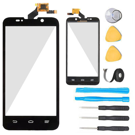 ZTE Warp 4G LTE Glass Screen Replacement + Touch Digitizer Premium Repair Kit- Boost Mobile N9510-  Black