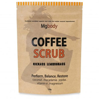 Body Scrub - Coffee, Magnesium, Coconut - KICKASS LEMONGRASS 130g