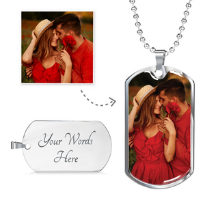 Custom Photo Dog Tag Pendant Necklace For Couple/Lover