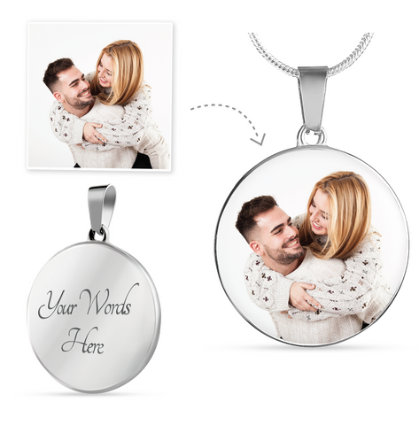 Custom Photo Circle Pendant Necklace For Couple