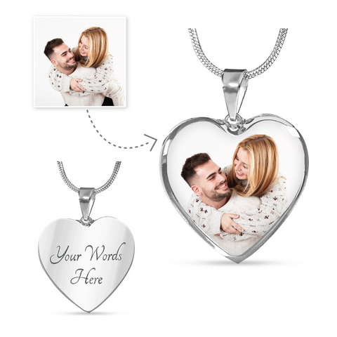 Custom Photo Heart Pendant Necklace For Couple/Lover