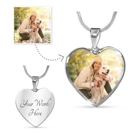 Custom Photo Heart Pendant Necklace For Pet Lover/Pet Parent
